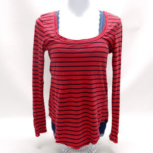 Free People Red/Blue Striped LS T-Shirt